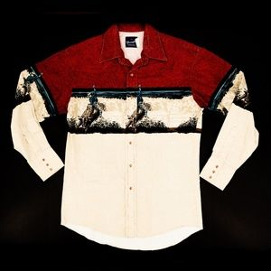 Vintage Wrangler Pearl Snap Shirt Western Rodeo Md
